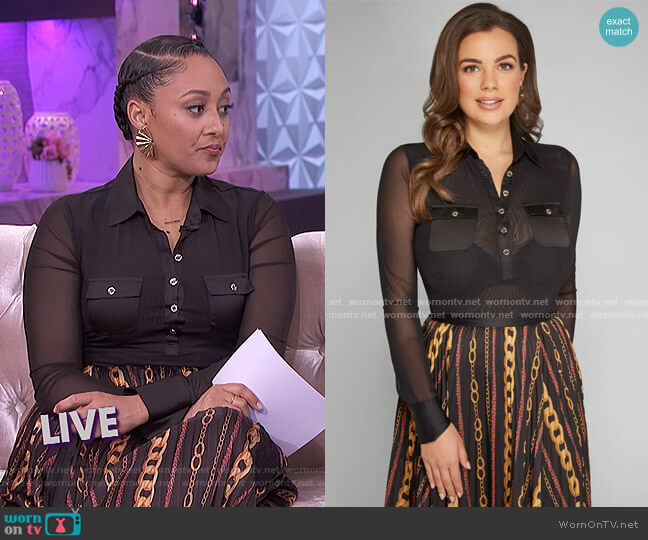 Lily Mesh Bodysuit by Guess worn by Tamera Mowry  on The Real