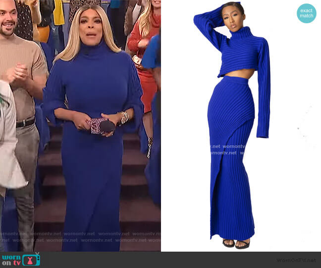 Dee Crop Sweater and Maxi Skirt by Hanifa worn by Wendy Williams  on The Wendy Williams Show