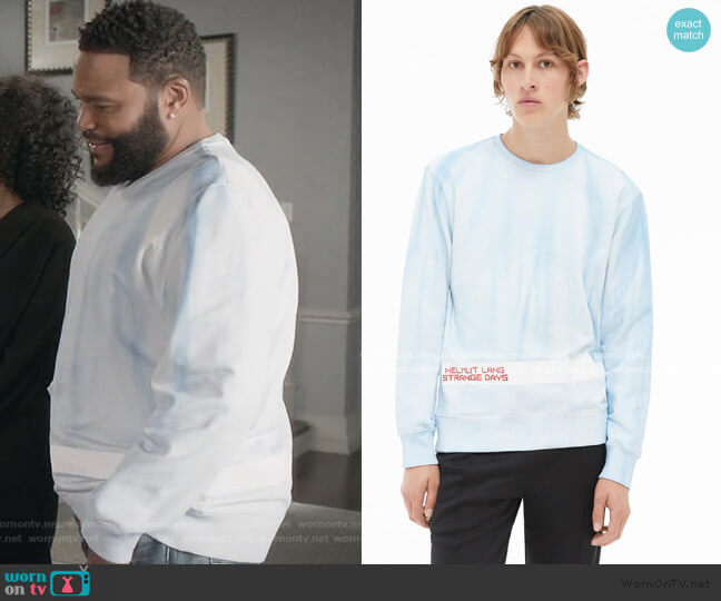 Strange Days cotton-jersey Sweatshirt by Helmut Lang worn by Andre Johnson (Anthony Anderson) on Blackish