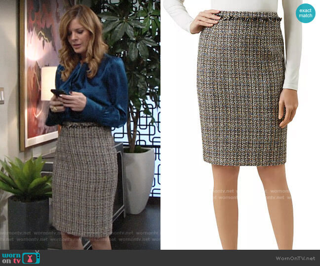 Hobbs London Jessie Tweed Pencil Skirt worn by Phyllis Summers (Michelle Stafford) on The Young & the Restless