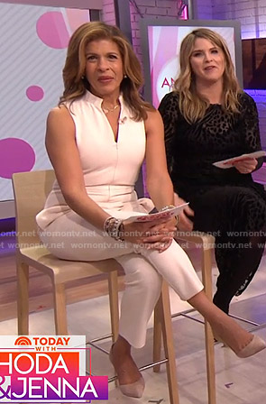 Hoda's white sleeveless jumpsuit on Today