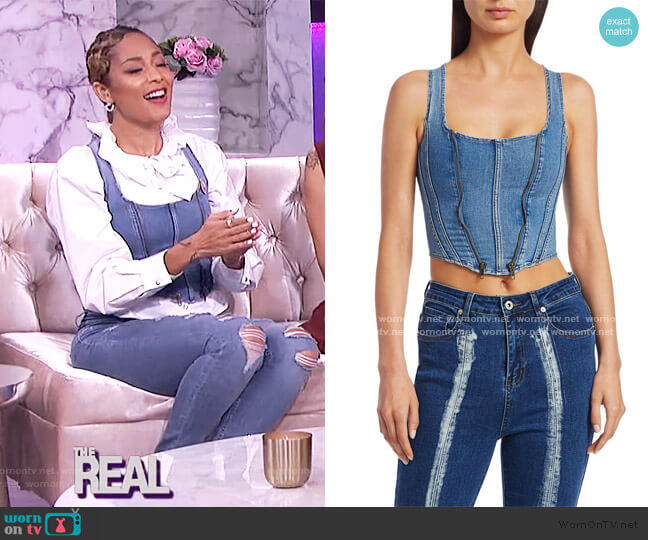 Coco Denim Corset by I AM GIA worn by Amanda Seales  on The Real