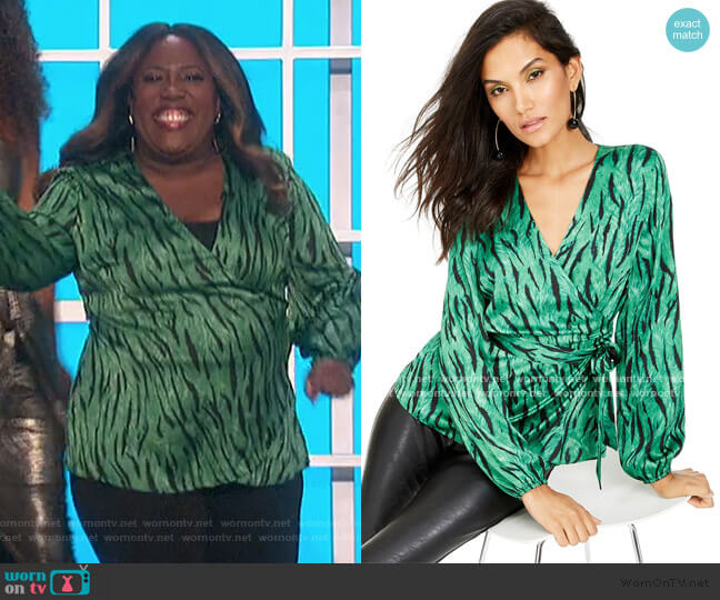 Animal-Print Wrap Top by INC International Concepts worn by Sheryl Underwood  on The Talk