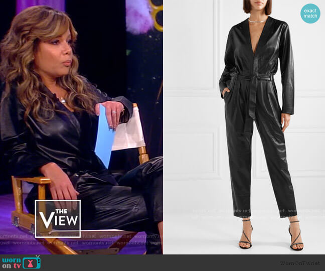 Madryn Belted Leather Jumpsuit by IRO worn by Sunny Hostin  on The View