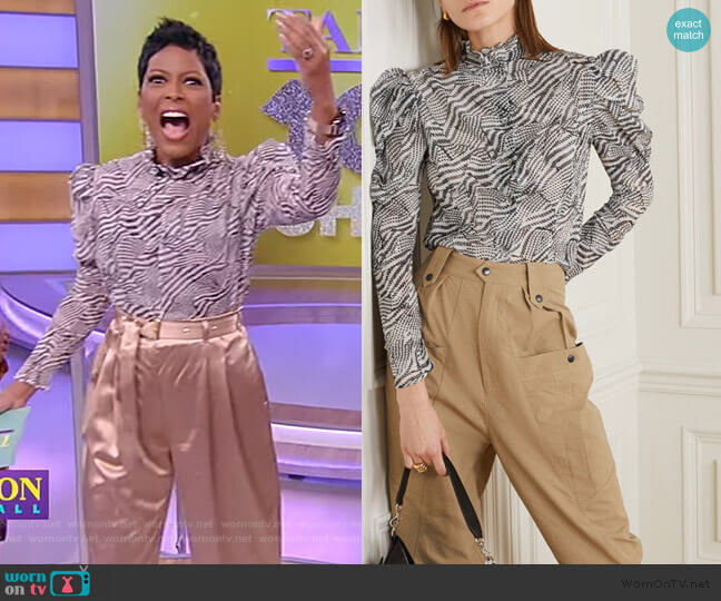 Emsley Printed Cotton and Silk-blend Blouse by Isabel Marant worn by Tamron Hall  on Tamron Hall Show