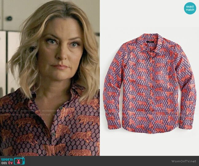 J. Crew Collection silk-twill button-up shirt in roaming tigers worn by Alice Cooper (Mädchen Amick) on Riverdale