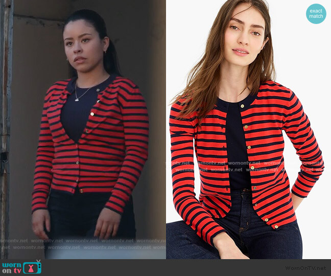 Striped Jackie Cardigan Sweater by J. Crew worn by Mariana Foster (Cierra Ramirez) on Good Trouble