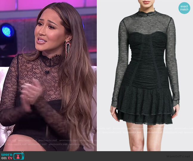 Mixed Silk Lace Mock-Neck Ruched Dress by Jonathan Simkhai worn by Adrienne Houghton  on The Real
