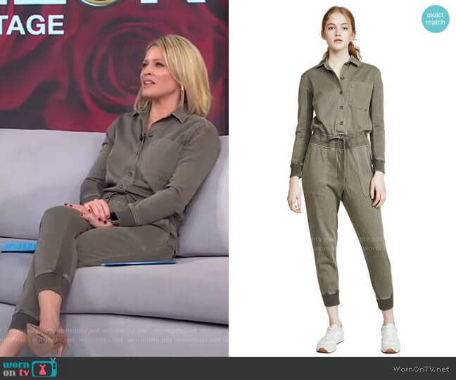 Mixed Media Jumpsuit by James Perse worn by Sara Haines  on Good Morning America
