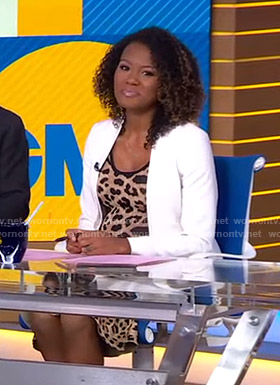 Janai's leopard print dress on Good Morning America