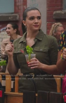 Jane's green short sleeve jumpsuit on The Bold Type