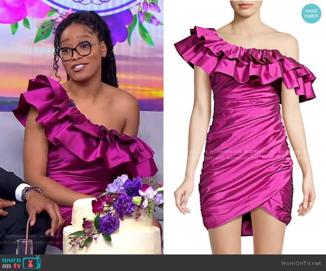 One-Shoulder Ruched Mini Dress by Jay Godfrey worn by Keke Palmer  on Good Morning America
