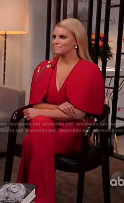 Jessica Simpson's red cape top and flared pants on GMA Strahan Sara And Keke