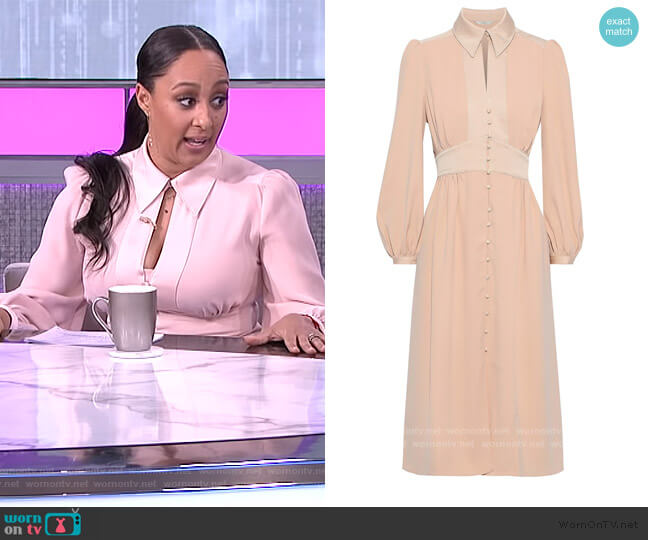Linaeve satin-trimmed crepe de chine midi Dress by Joie worn by Tamera Mowry  on The Real
