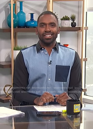 Justin's colorblock shirt on E! News Daily Pop