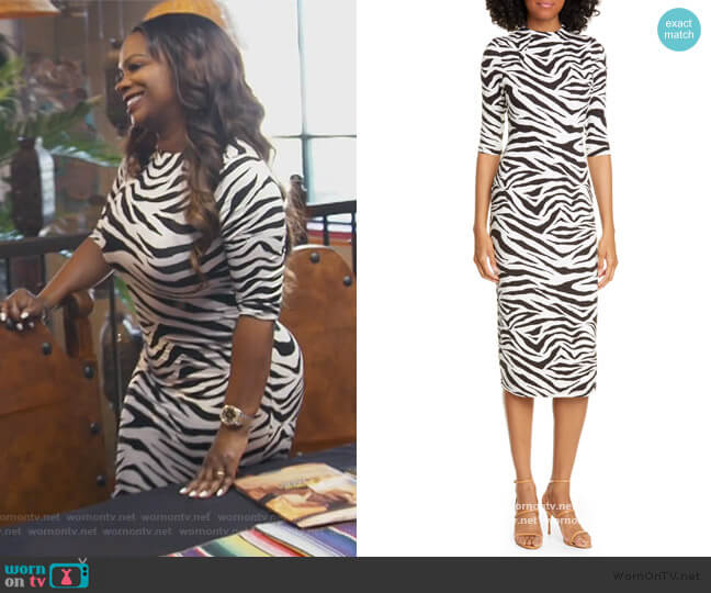 Delora Animal Print Mock Neck Dress by Alice + Olivia worn by Kandi Burruss  on The Real Housewives of Atlanta