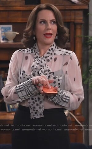 Karen's white dotted sheer blouse on Will and Grace