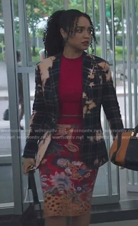 Kat's bleach stained plaid blazer and floral skirt on The Bold Type