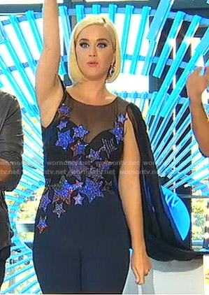 Katy's star embellished cape jumpsuit on American Idol