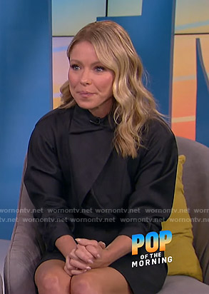 Kelly Ripa's dark grey asymmetric mini dress on E! News