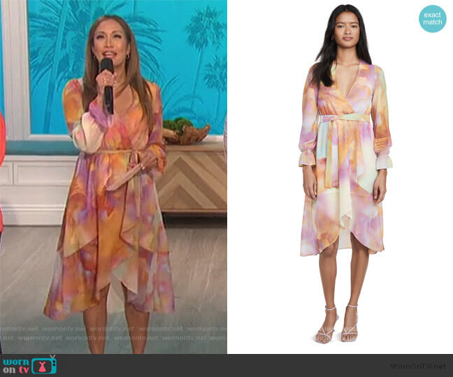 Front Wrap Duster Dress by Kendall + Kylie worn by Carrie Inaba  on The Talk