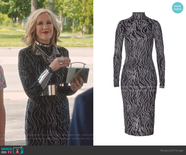 Turtleneck Midi Dress by Kenzo worn by Moira Rose (Catherine O'Hara) on Schitts Creek