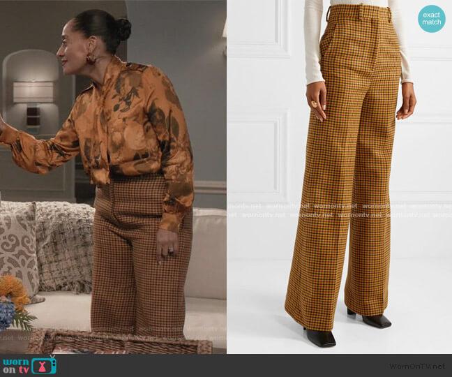 Bernadette checked wool wide-leg pants by Khaite worn by Rainbow Johnson (Tracee Ellis Ross) on Blackish