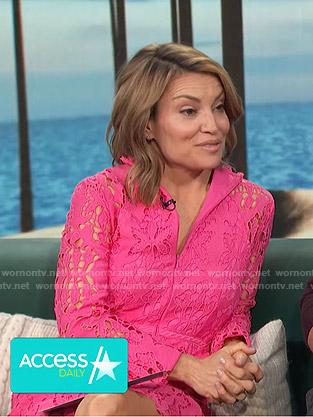 Kit's pink lace mini dress on Access Hollywood