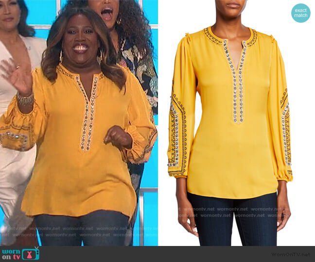 Eliza V-Neck Long-Sleeve Embellished Silk Blouse by Kobi Halperin worn by Sheryl Underwood  on The Talk