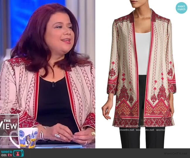 Lexy Embroidered Linen-Blend Coat by Kobi Halperin worn by Ana Navarro  on The View