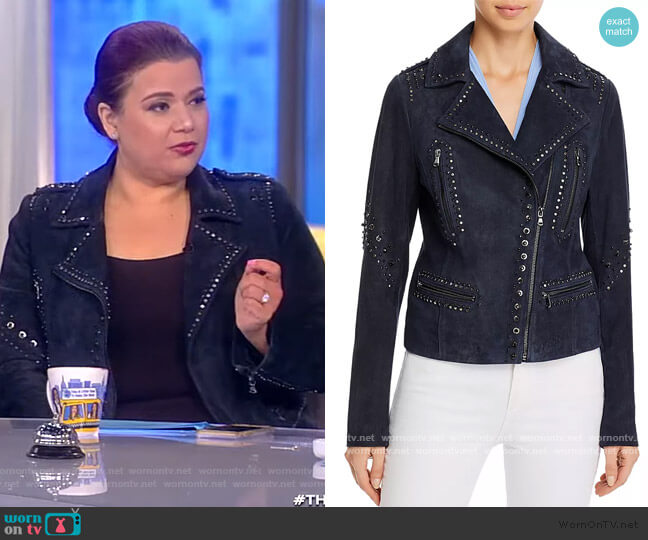 Veronica Embellished Leather Moto Jacket by Kobi Halperin worn by Ana Navarro  on The View