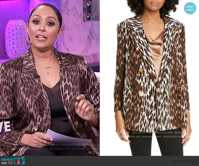 Taryn Leopard Blazer by L'Agence worn by Tamera Mowry  on The Real