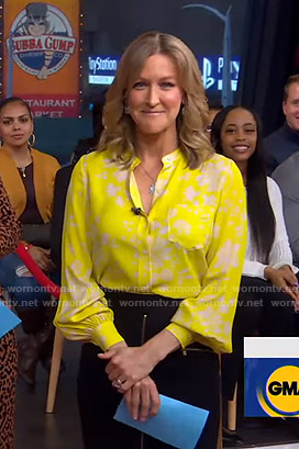 Lara's yellow floral blouse and zip front skirt on Good Morning America