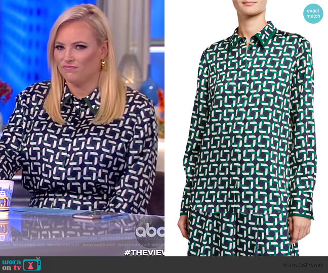 Julianne Geo Link Print Blouse by Lafayette 148 New York worn by Meghan McCain  on The View