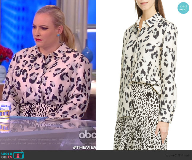 Scottie Spot Print Silk Shirt and Skirt by Lafayette 148 New York worn by Meghan McCain  on The View