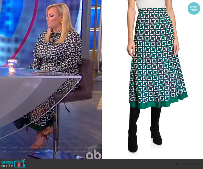Fiona Geo Link Print Midi Skirt by Lafayette 148 New York worn by Meghan McCain  on The View