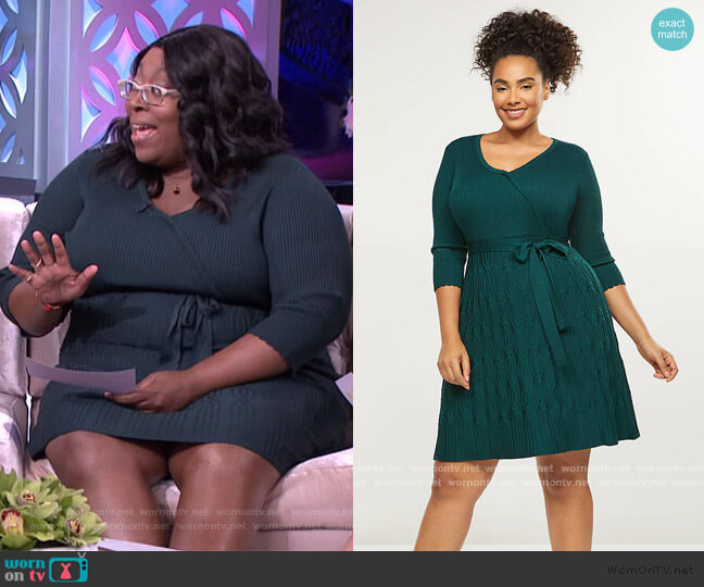 Faux-Wrap Fit & Flare Sweater Dress by Lane Bryant worn by Loni Love  on The Real