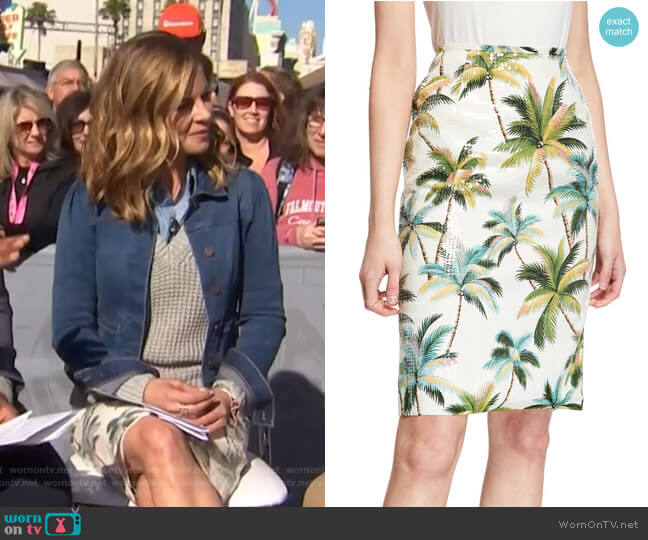Hawaiian Shine Sequin Palm-Tree Pencil Skirt by Le Superbe worn by Natalie Morales  on Today