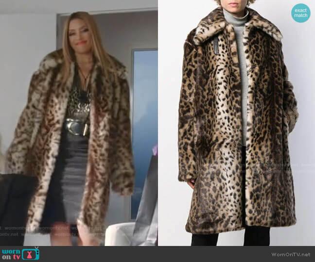 Leopard-Print Faux Fur Coat by Rokh worn by Dominique Deveraux (Michael Michele) on Dynasty