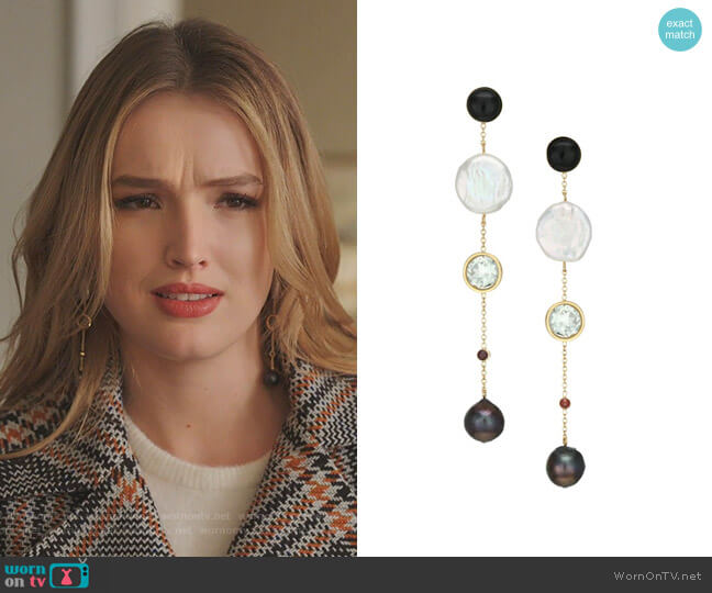 Bon Vivant Earrings by Lizzie Fortunato worn by Kirby Anders (Maddison Brown) on Dynasty