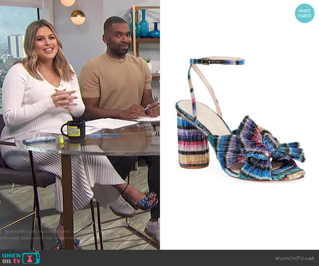 Camellia Knotted Lame Sandals by Loeffler Randall worn by Carissa Loethen Culiner  on E! News