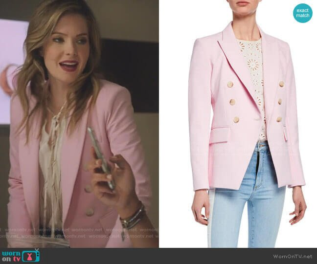 Lonny Double-Breasted Dickey Jacket by Veronica Beard worn by Sutton (Meghann Fahy) on The Bold Type