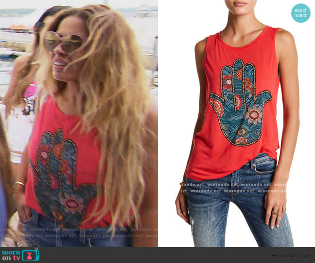 Colorful Hamsa Hand Graphic Tank by Lucky Brand worn by Dolores Catania  on The Real Housewives of New Jersey