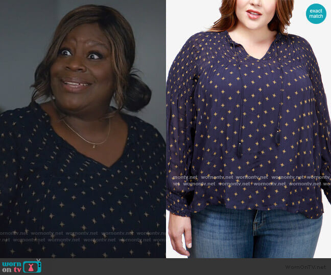 Plus Size Smocked Top by Lucky Brand worn by Ruby Hill (Retta) on Good Girls