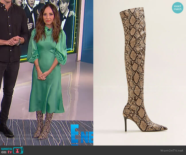 Snake Effect High-Leg Boots by Mango worn by Lilliana Vazquez  on E! News
