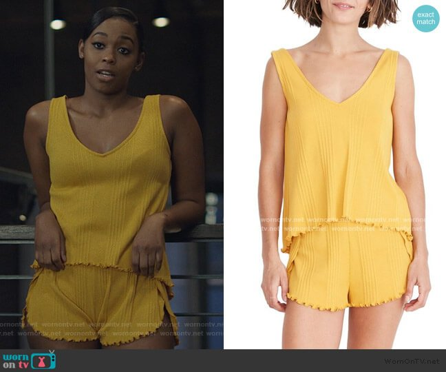 Ribbed Knit Pajama Tank Top and Shorts by Madewell worn by Anissa Pierce (Nafessa Williams) on Black Lightning