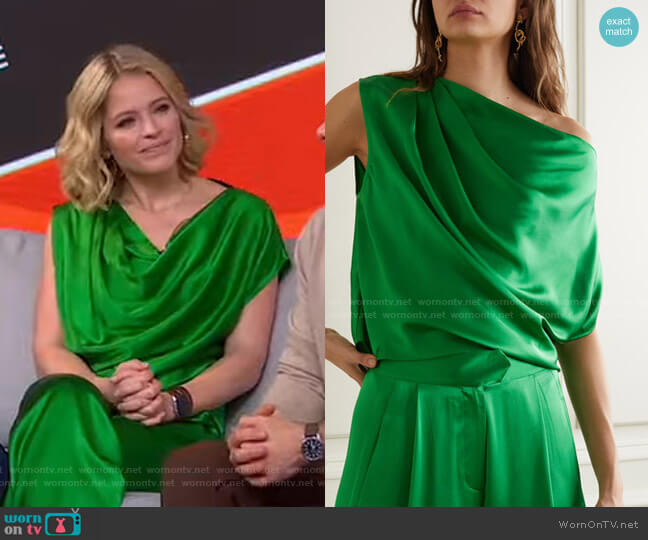 One-Shoulder Draped Silk-Satin Top by Michelle Mason worn by Sara Haines  on Good Morning America