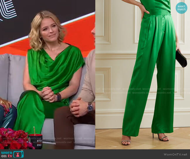 Pleated Silk-Satin Wide-Leg Pants by Michelle Mason worn by Sara Haines  on Good Morning America