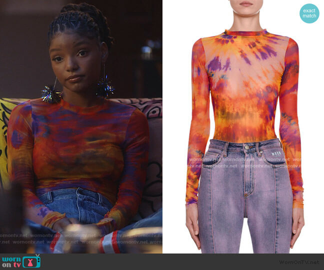 Tie-Dye Long-Sleeve Fitted Top by MSGM worn by Skylar Forster (Halle Bailey) on Grown-ish