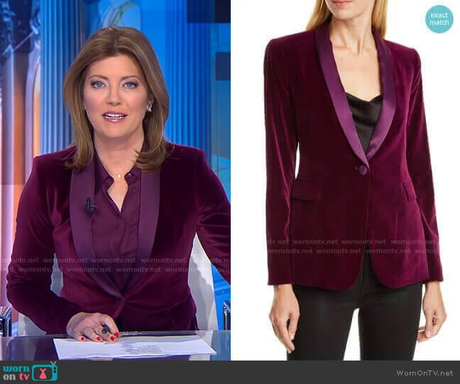 Macey Velvet Shawl Collar Jacket by Alice + Olivia worn by Norah O'Donnell  on CBS Evening News